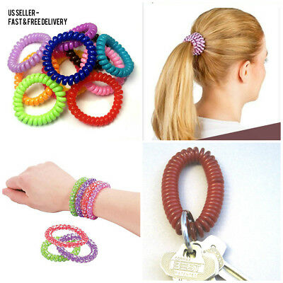 Elastic Spiral Coil Hair Ties Ponytail Holders Phone Cord Hair Ring Rope 3Pcs