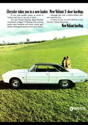 "1969 VF CHRYSLER VALIANT HARDTOP AD A1 CANVAS PRINT POSTER FRAMED 33.1""x23.4"""