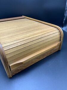 Kalmar-Mid-Century-Teak-Wood-Roll-Top-Organizer-Cassette-Holder-Storage-Box