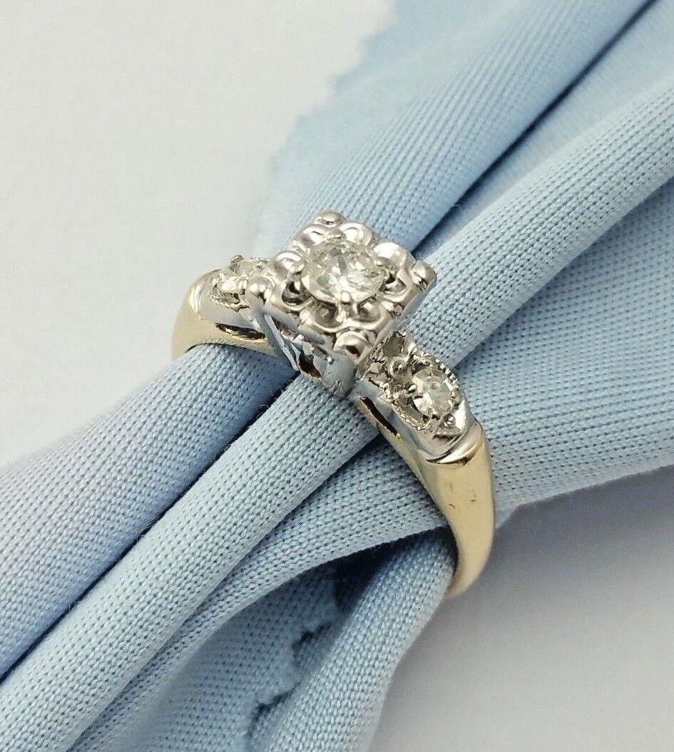 Elegant 14K Karat Two Tone gold Designer Ladies Ring With Diamonds - Nice