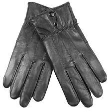 Regatta Garabina Womens Leather Gloves Black Stylish with Soft Knit Fleece Panel