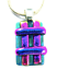 DICHROIC-Fused-Glass-Silver-PENDANT-Magenta-Pink-Verdigris-Green-Striped-Layers thumbnail 2