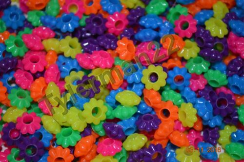 100 FUN BRIGHT COLORFUL FLOWER SHAPED PONY BEADS BIRD PARROT TOY PART CRAFT 10MM