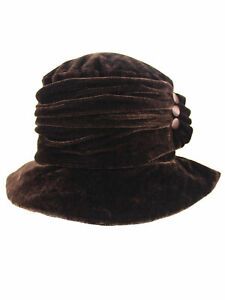 a44f984012e76 Image is loading VELVET-BUCKET-HAT-WITH-BUTTON-TRIM