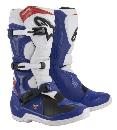 Alpinestars Motocross Boots Tech 3 Adult Blue//White//Red MX Off-Road Quad ATV