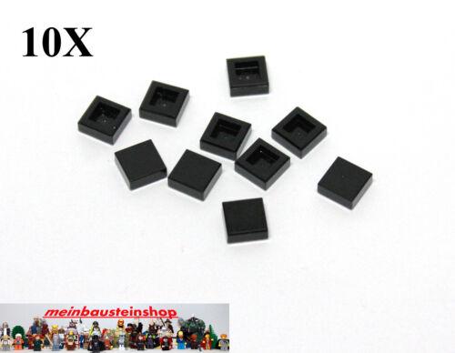 10X Lego® 3070 Fliese Kachel Flache Platte Glatt Flat Tile 1X1 Schwarz Black Neu