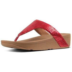 dbc286369 Image is loading Womens-Fitflop-Lottie-Chain-Print-Red-Slip-On