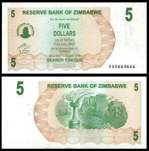 2006 Zimbabwe 5 Dollars Bearer Check//p38 UNC