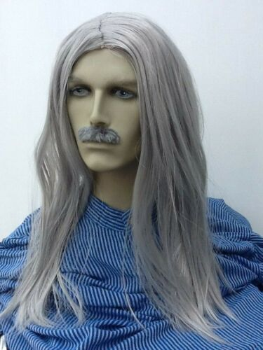 Grey Long Straight Old Hippy Fancy Dress Wig /& Moustache UK next Day Dispatch
