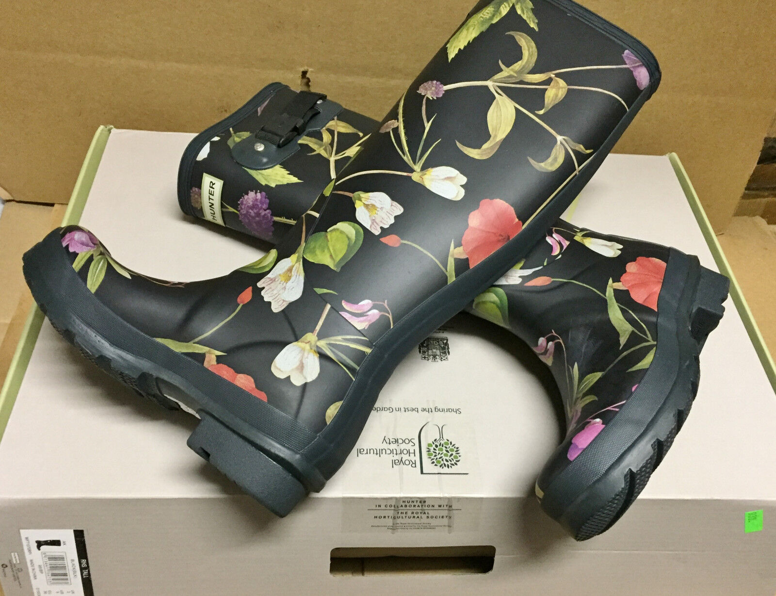 Hunter Limited Royal Horticultural Society Rubber Rain Garden Boots New w box