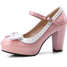 273af86cc Lolita Women Bowtie High Heels Oxford Pumps Leather Retro Dress Shoes Mary  Jane