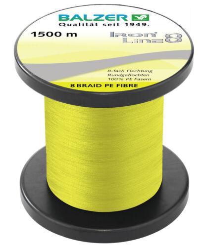 BALZER IronLine8 Spin Schnur 8-fach rund geflochten gelb 0,18mm 12,7kg à 50m TOP