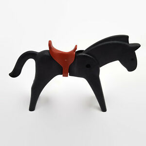 Playmobil-Black-Horse-With-Brown-Saddle