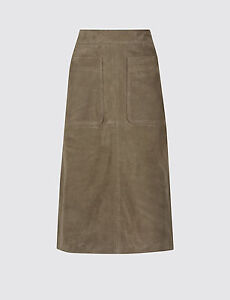 New-M-amp-S-Autograph-Genuine-Suede-A-Line-Olive-Skirt-Sz-UK-8-10-rrp-199