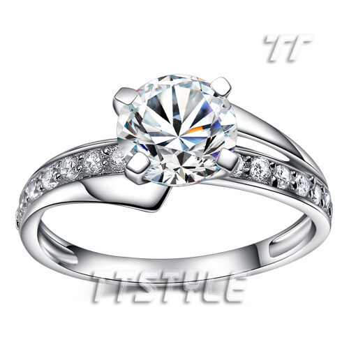 T&T RHODIUM 925 Sterling Silver Engagement Wedding Ring Size 5-8