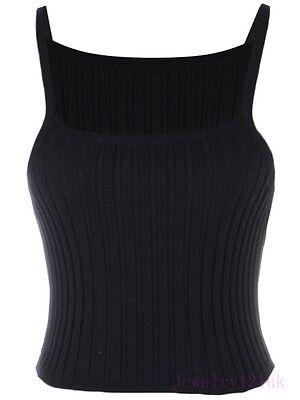 new women ladies waist 90s short tanks camis camisole spaghetti strap cable rib