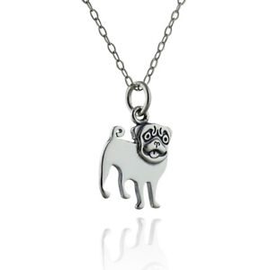 sterling silver pug necklace small dog pendant tiny dog breed charm owner gift smiling animal love dainty delicate everyday jewelry 12