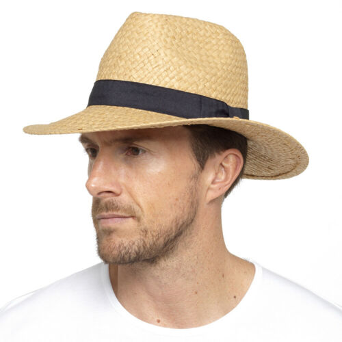 NEW STRAW STYLE FEDORA TRILBY STYLE CRUSHABLE SUMMER SUN MENS HAT UK SELLER