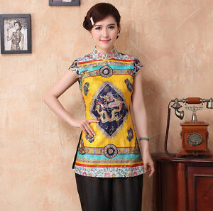 cd0116b75a6a0 Size S-4XL women Silk blouses Chinese traditional cheong-sam tops ...