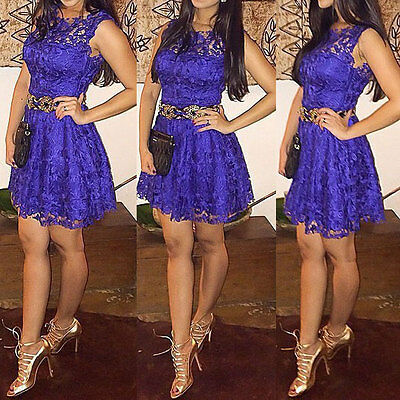 New Sexy Women Sleeveless Lace Bodycon Cocktail Evening Party Short Mini Dress
