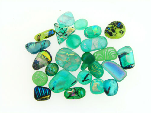 Vintage Green Dichoric Glass Fused Foil Glass Mixed Cabochon Jewel Stones Lot