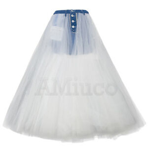 Women-Lace-Ruffles-Denim-Skirts-Pleated-Tulle-Skirts-Long-Ball-Gow-Bubble-Skirts
