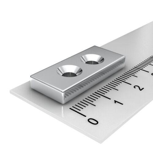2x Bohrung 4mm mit Senkung für Senkkopfschraube Neodymmagnet Quader 28x12x4mm