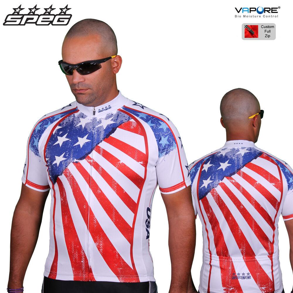 SPEG USA American  Herren Short Sleeve Cycling Jerseys Full Zipper 100% Vapore