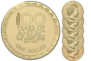 AUSTRALIA-2014-2015-2016-2017-2018-1-Anzac-Coin-Set-UNC-SPIRIT-LIVES-EX-ROLL