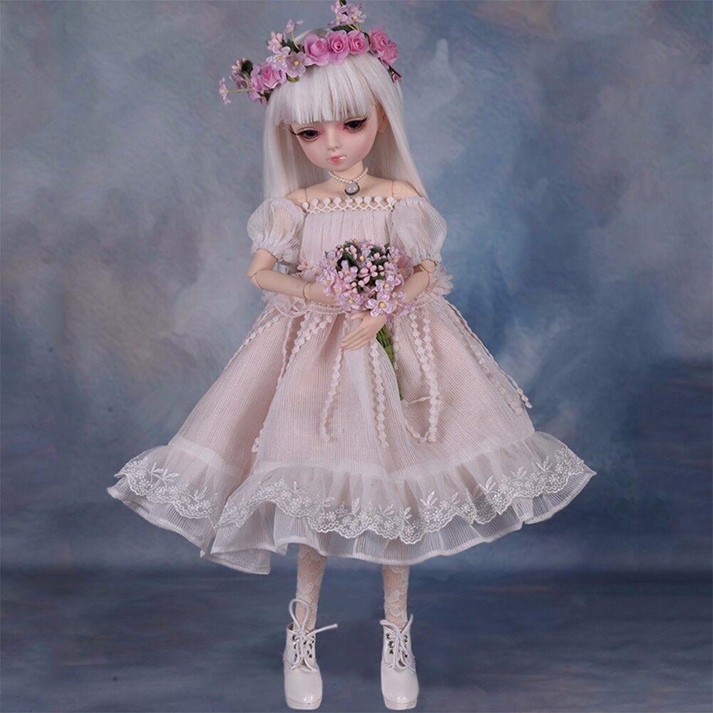 1 4 Mini BJD Muñecas Niña Con Cara Maquillaje Princesa Vestido + Removable ojos