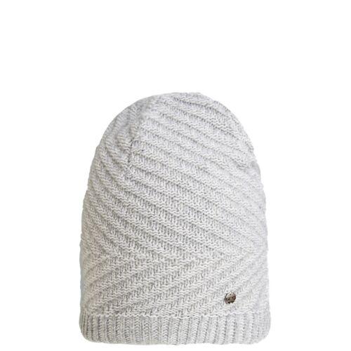 CMP Beanie Strickmütze Wintermütze grau Fleece Muster Applikation