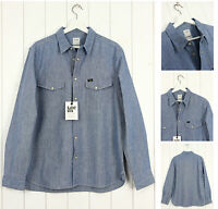NUOVO Lee 101 Camicia di jeans azzurro regular VINTAGE 30% in lino S/M/L/XL /