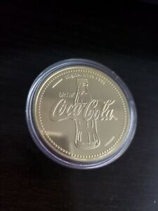 Coca-Cola-Coke-collectible-rare-1oz-gold-plated-coin-layered-24k-999-case-1886