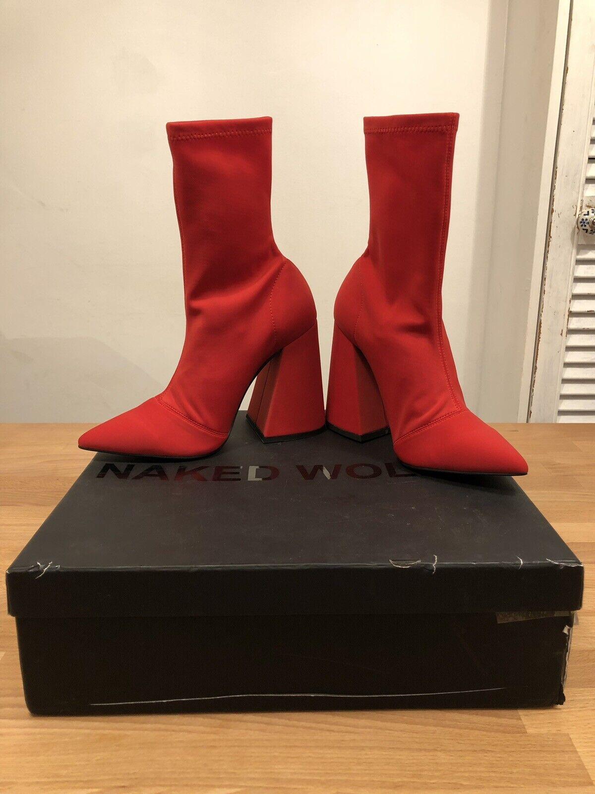 consegna rapida NUDO Wolfe Rosso STRETCH Lycra alla Caviglia Donna Donna Donna Stivale  Taglia UK5  NUOVO  solo      profitto zero