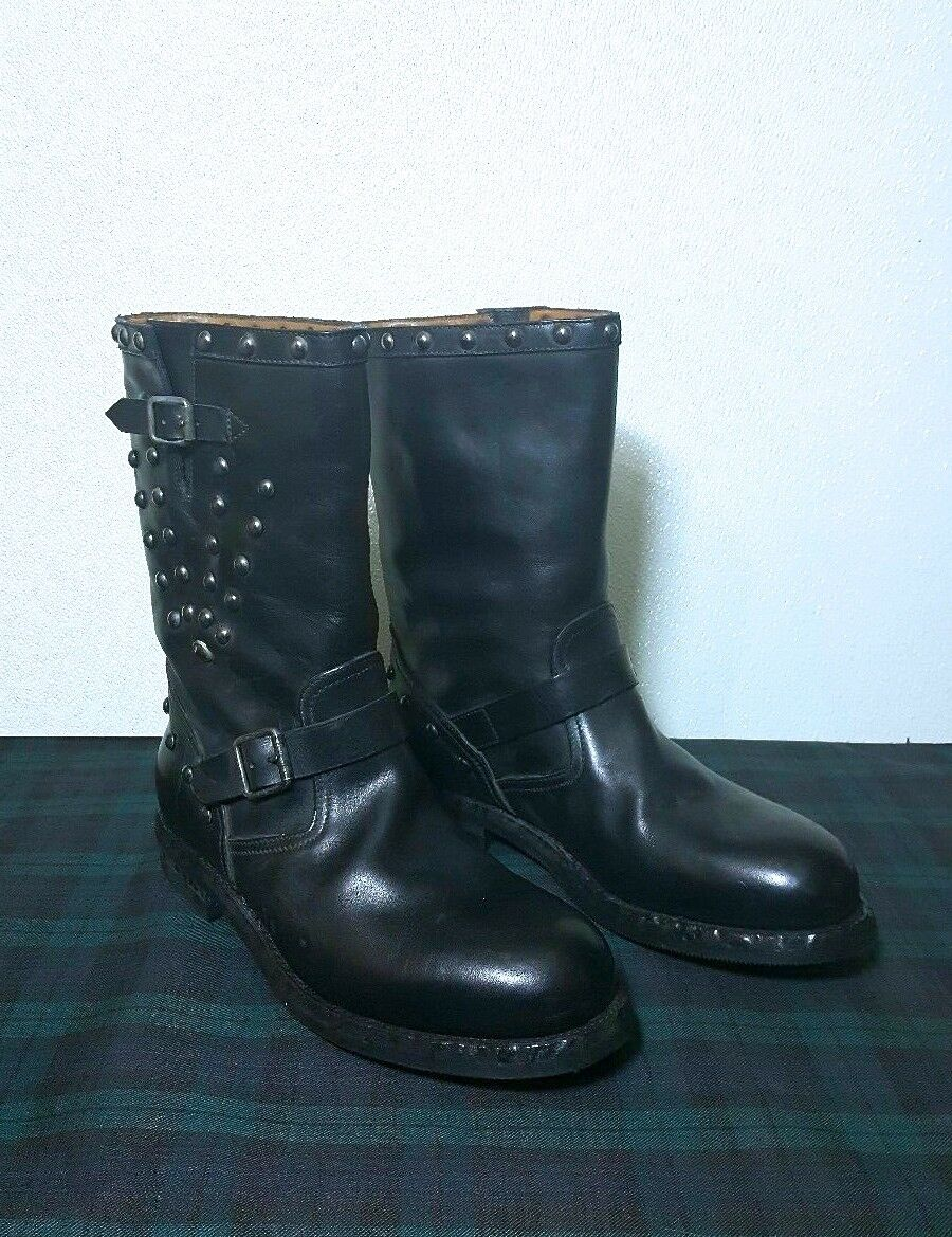 Ralph Lauren Collection GORDAN Tachonado botas de moto de cuero negro (USA 11D)
