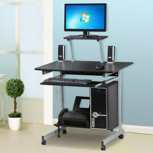 home office stand up shelf laptop computer desk rolling with keyboard tray cart 675500339211 ebay. Black Bedroom Furniture Sets. Home Design Ideas
