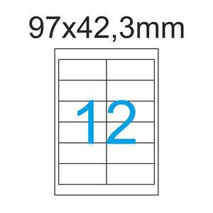 2400 Etiketten 97 x 42,3 mm 200 Blatt A4 selbstklebend  97x42mm Weiss Luma