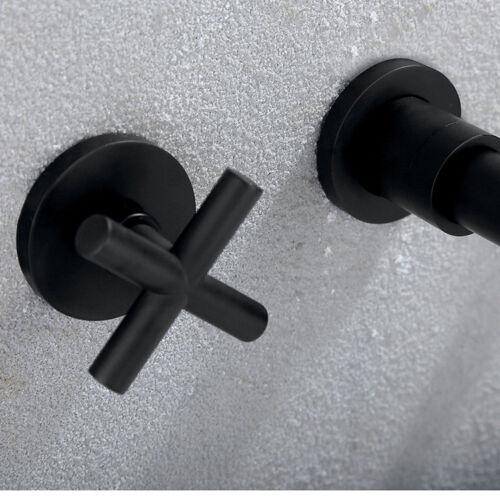 CN 3 PCs Black Basin 2 Handle Faucet Wall Mount Bath Sink Brass Mixer Faucet Tap