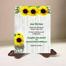 Save the Date Wedding Cards  Rustic Wood Mason Jar Sunflower 50 Personalized