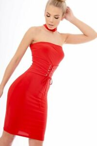 prague red choker lace up corset belted waist bodycon sexy