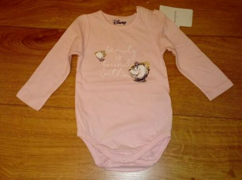 New Disney Beauty and the Beast Pink Long Sleeved Babygrow//Bodysuit Age 6-9 mths