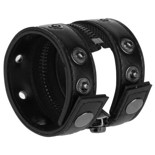 Fashion Faux Leather Adjustable Wristband Punk Rock Wide Cuff Bracelet Bracers