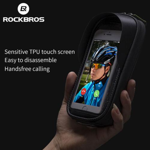 "RockBros Bike Bicycle Frame Front Waterproof Bag 5.8//6.2/"" Touch Screen Phone Bag"