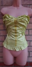 RIVER ISLAND BEADED FRILLY BANDEAU BONED CORSET BUSTIER PARTY TOP BLOUSE S M 10