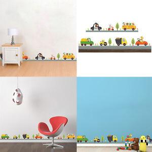 Détails sur Set Cartoon Sticker Mural Autocollant Voiture Décor Art  Amovible Chambre Enfant