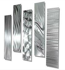Silver Modern Abstract Large Metal Wall Art 5 Panel contemporary Decor Jon Allen