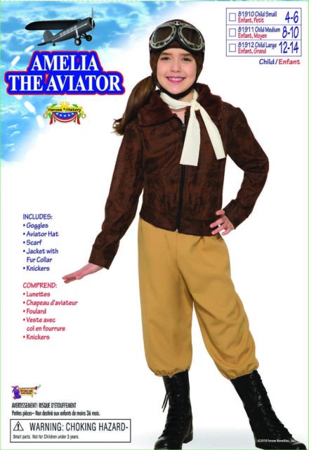 Amelia Earhart 1920s 30s Female Aviator Pilot Heroin Book Week Girls Costume