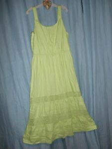 05be906f396 J Jill yellow y 100% linen maxi peasant dress lace y crochet ...
