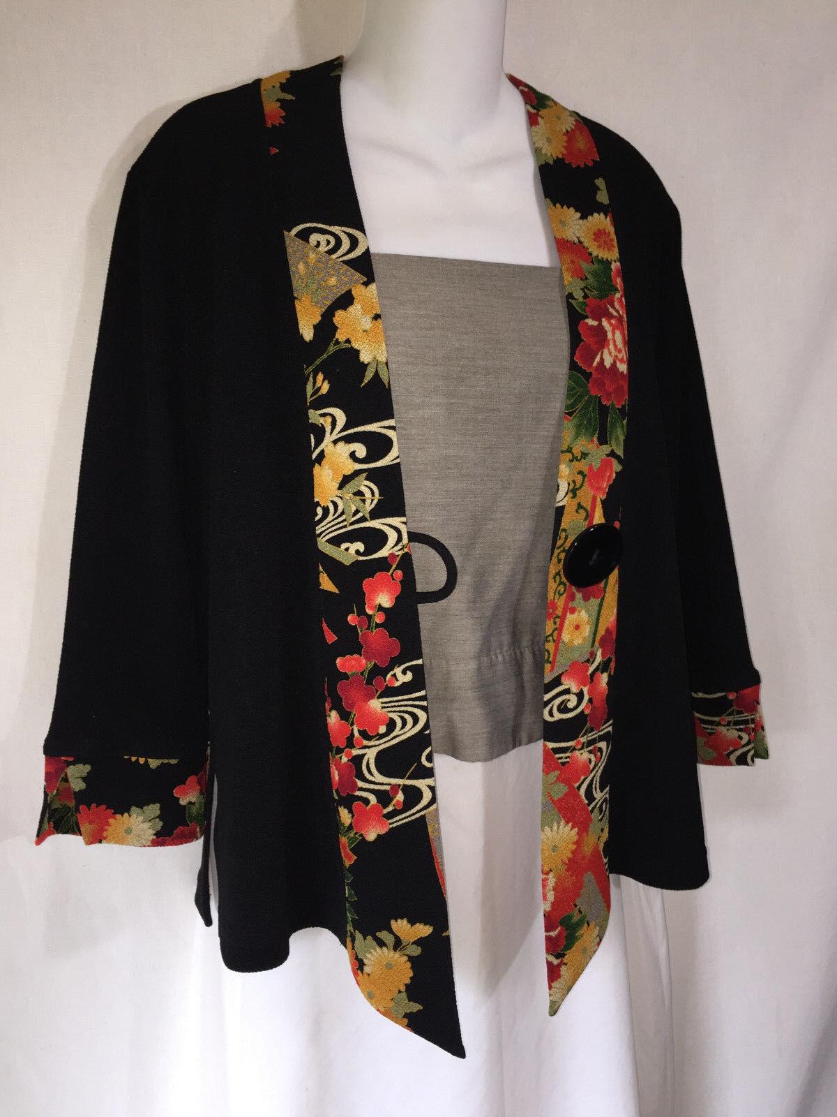 Soft Surroundings Negro  Arte para llevar rojo Floral Kimono Chaqueta Top Camiseta XS asiático  bajo precio del 40%
