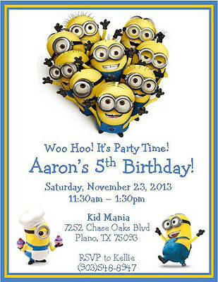 12 Printed Custom Despicable Me Minions Invitations with envelopes ~ Style #2
